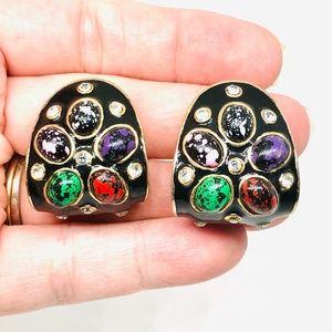 80s Enamel Multi Colored Speckle Clip On Earrings